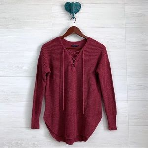AEO Rusty Red Ribbed Knit Lace Up Top